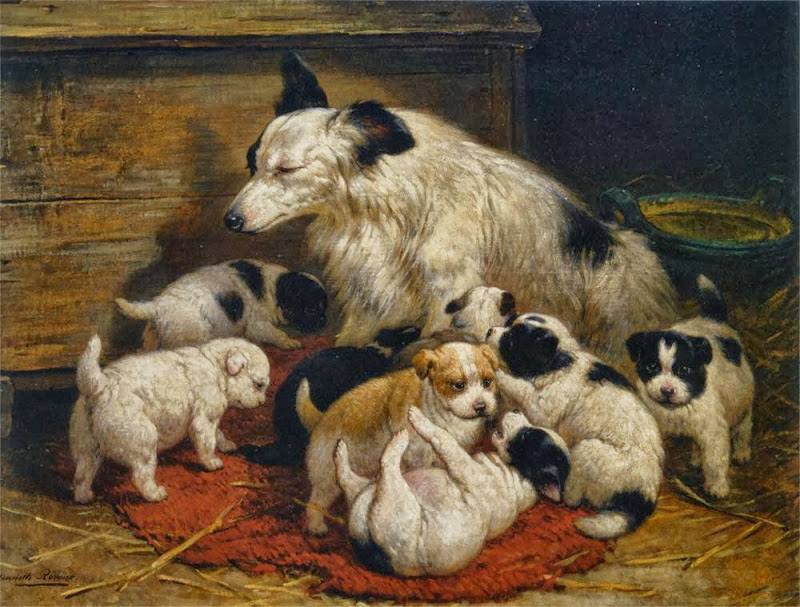 Henriette Ronner-Knip - A dog and her puppies
