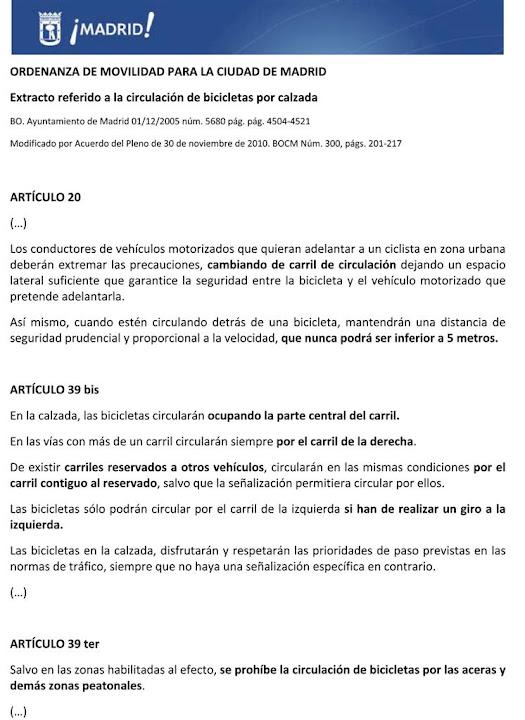 Madrid. Normativa de circulación ciclista en la calzada