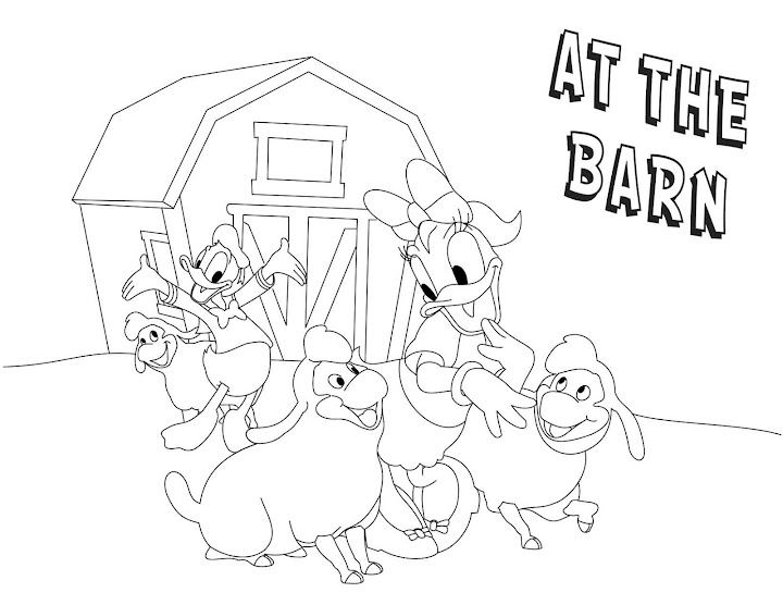 Donald and Daisy Duck at the Barn Coloring Page