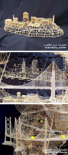 نموذج لمدينة سان فرانسيسكو من أعواد تنظيف الأسنان
