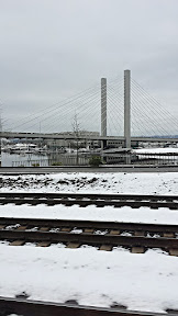 View from the Amtrak car as we escape Snowpacalypse PDX for Seattle