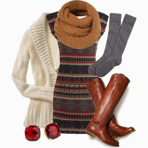 Adorable scarf, white cardigan, dark colours dress and brown long boots for fall