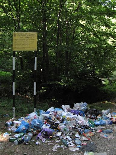 înainte de intrarea în chei este o mică poieniţă şi un panou informativ; şi nişte gunoaie de la cei care nu-şi pot căra resturile câteva sute de metri mai la vale...