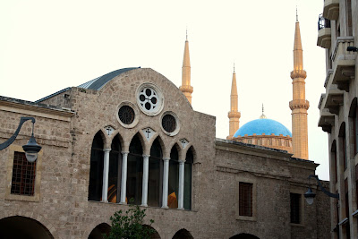 Church in front of a mosque in Beirut Lebanon