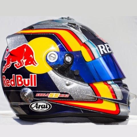 Per Sainz Jr. una lattina di Red Bull contornata da un nastro rosso e giallo, a ricordare la nazionalità spagnola