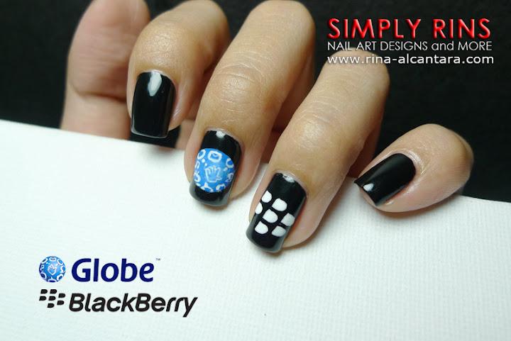 Globe and Blackberry Nail Art Design