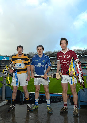 31 January 2013; At a photocall in advance of the AIB GAA Hurling and Football Junior and Intermediate Club Championship Finals on Saturday 9th and Sunday 10th February, in Croke Park, are Junior hurling captains Conall Maskey, Fullen Gaels, Manchester, left, and Jonjo Farrell, Thomastown, Kilkenny, with Intermediate hurling captain David Langton, Clara, Offaly, right. Croke Park, Dublin. Picture credit: Brian Lawless / SPORTSFILE *** NO REPRODUCTION FEE ***