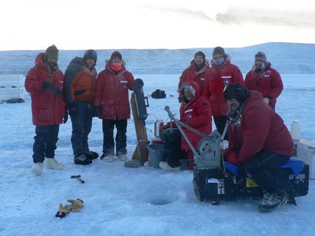 Sampling at Lake Vanda in March. Left to right: Cliff Leight, Matt Charnetski, Amy Chiuchiolo, Anna Bramucci, Mike Lizotte, Chris Kannen, Tony Buchanan, Jill Mikucki.(photo by T. Vick)