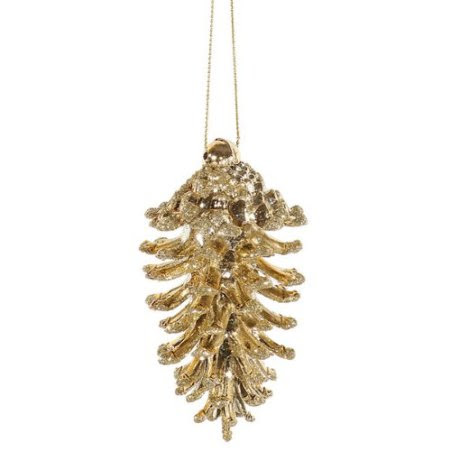 6ct Gold Glamour Glittered Shatterproof Pine Cone Christmas Ornaments 3.5