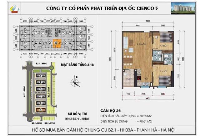 Mặt bằng căn hộ 26 chung cư b2.1 hh03a thanh hà