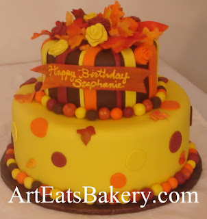 Custom creative unique orange, yellow and brown fondant leaves and roses fall birthday cake