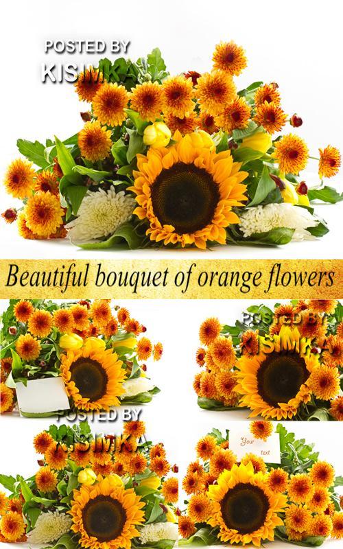 Stock Photo: Beautiful bouquet of orange flowers