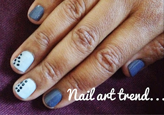 Fall nail art using Duri's grey nail polish