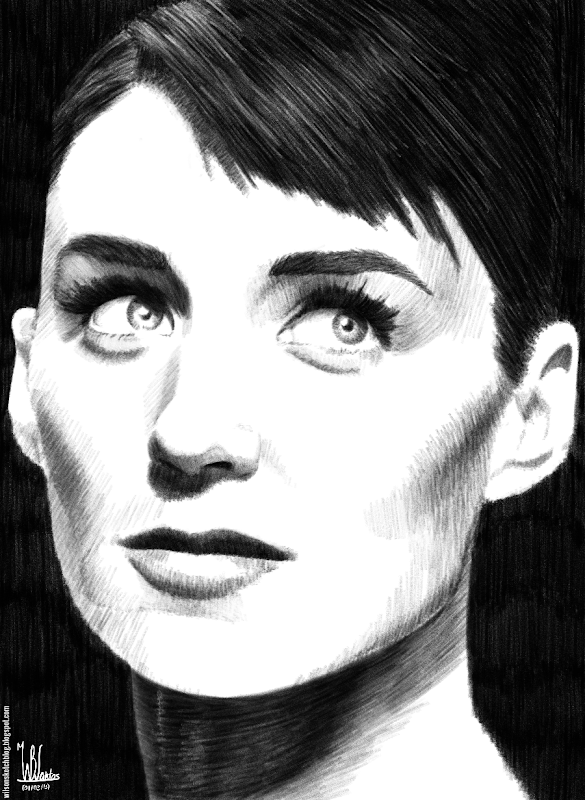 Pencil drawing of Rooney Mara, using Krita 2.5.