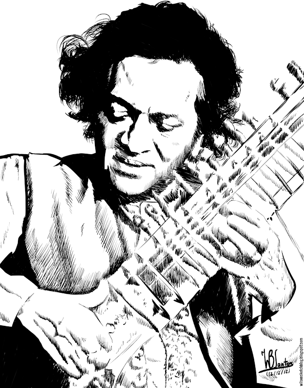 Ink sketch of Ravi Shankar, using Krita 2.5.