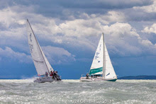 J/24s sailing upwind on Lake Balaton- Hungary