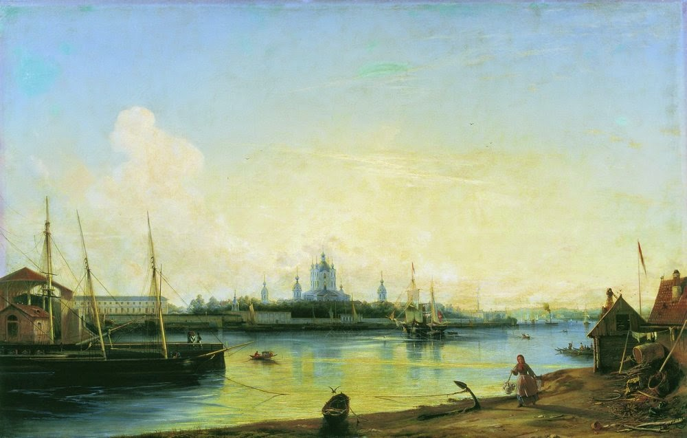 Alexey Bogolybov - Smolny as seen from Bolshaya Okhta, 1851