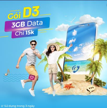 Miễn phí 3GB Chỉ 15.000đ gói D3 VinaPhone trong 3 ngày