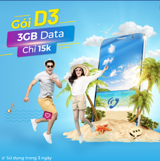 Chỉ 15.000đ có ngay 3GB tốc độ cao với gói D3 VinaPhone dùng trong 3 ngày