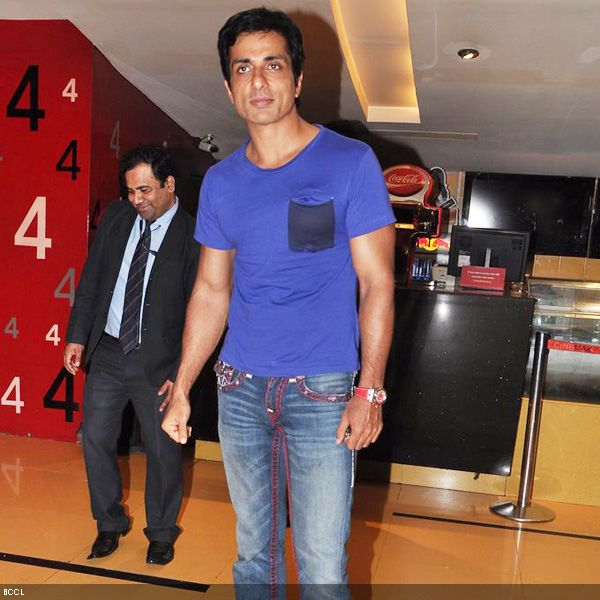 B'wood's one of the few actors with hot body Sonu Sood arrives at the premiere of the movie 'Zila Ghaziabad', held at PVR Cinema in Mumbai, on February 21, 2013. (Pic: Viral Bhayani)