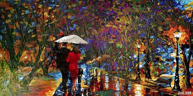 đôi tình nhân đi dưới cơn mưa Thu thật lãng mạn