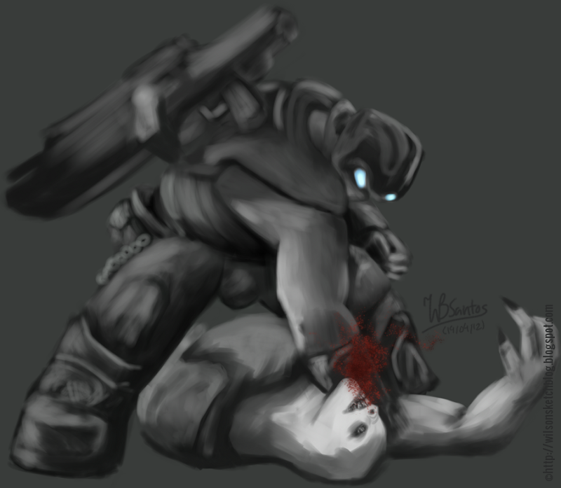 Sketch of Clayton Carmine (from Gears of War) punching a Grub