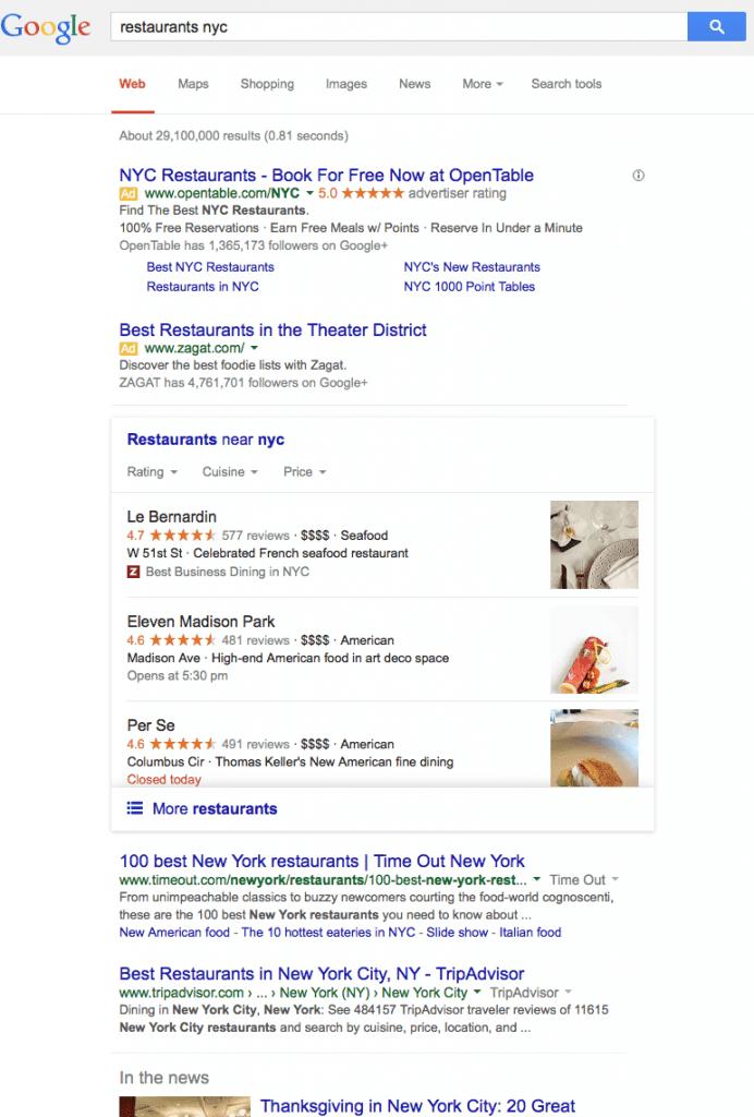 Nieuwe Google local 3-pak