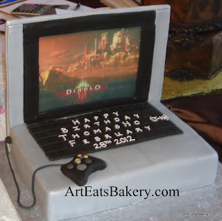 3D Macbook laptop custom unique birthday cake with game controller