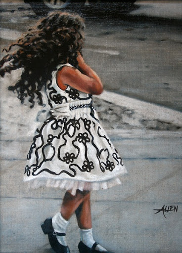 """""""Twirling at 6th & Bleeker"""" Oil by Barb Allen."""