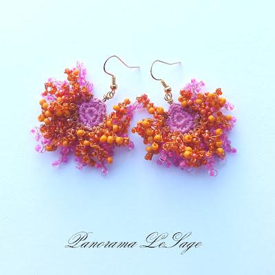kolczyki rosa długie wiszące koralikowe kolczyki koralikowa biżuteria szydełkowa rękodzięło Panorama LeSage Rosa Kolorowa neony sorbety