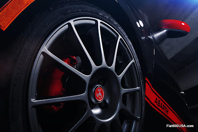 US Fiat 500 Abarth with 17 inch Hyper Black wheels