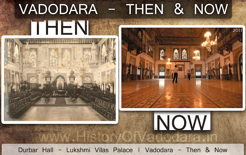 Lukshmi Villas Palace's Durbar Hall - Then & Now