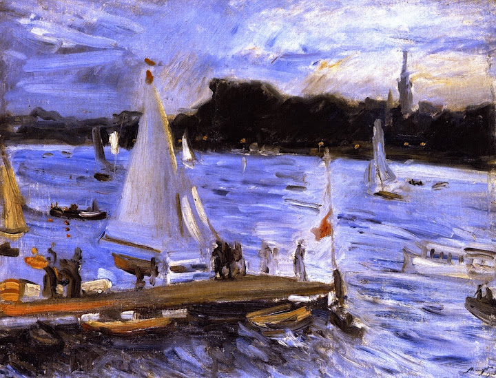 Max Slevogt - Sailboats on the Alster River in the Evening
