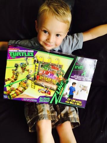 Blake Clement with the Teenage Mutant Ninja Turtles Z Line Ninja Deluxe Zipline Playset - Billboard Breakout