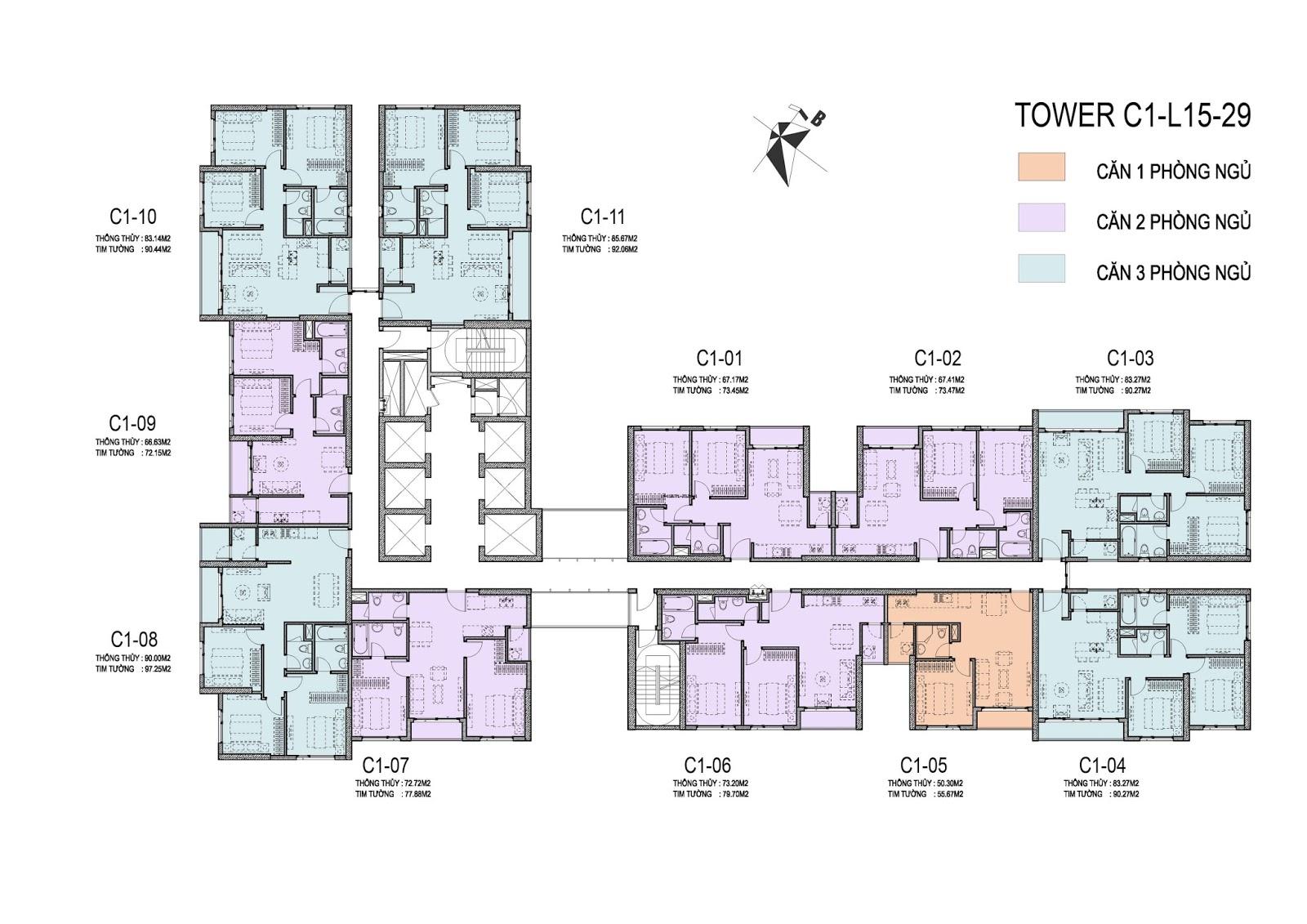 Thiết kế mặt bằng điển hình tòa C1 chung cư D'Capitale Trần Duy Hưng
