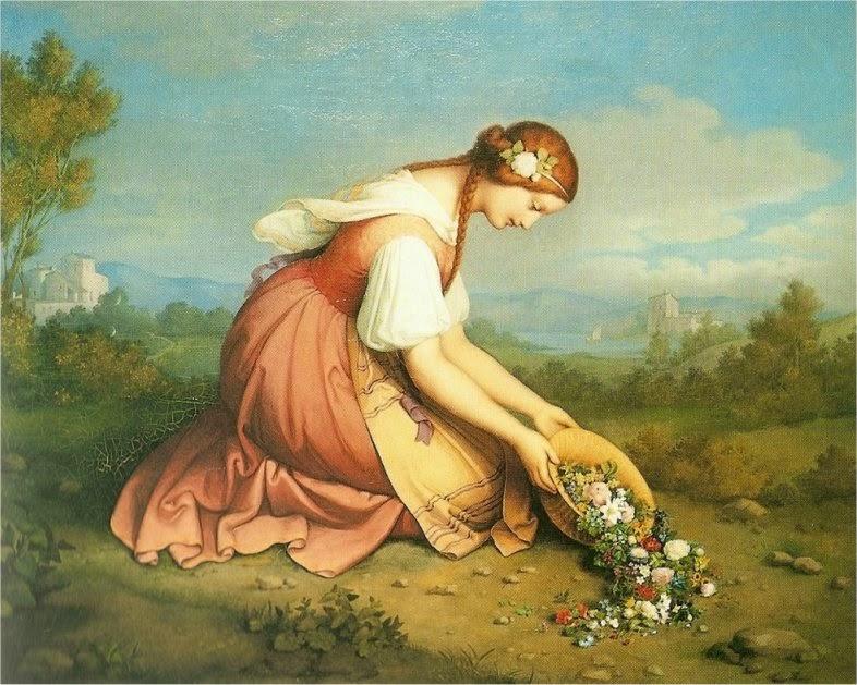 Marie Ellenrieder - Girl on here knees discharges a flower basket
