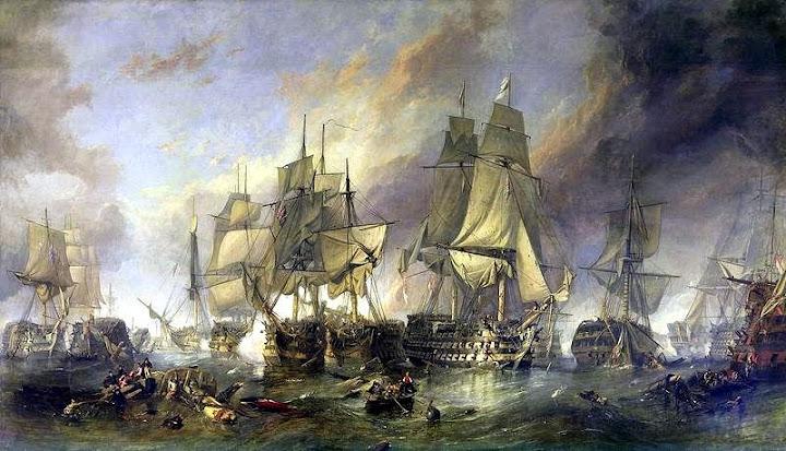 Pintura de Clarkson Stanfield Frederick retratando a decisiva Batalha de Trafalgar.