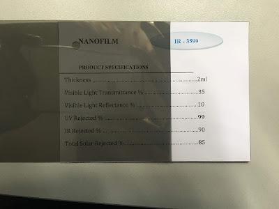 Mẫu phim cách nhiệt IR 3599 Nano Film