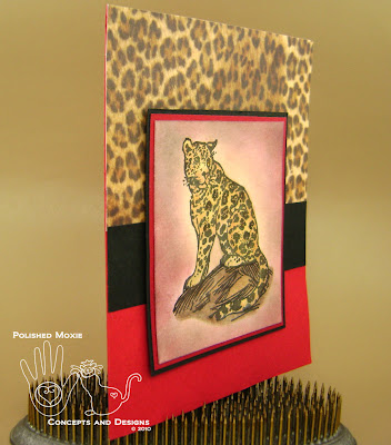 Picture of the red leopard card set at an angle
