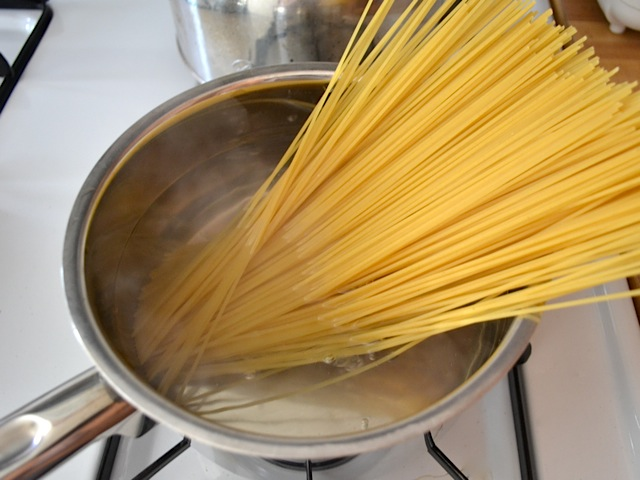 pasta in pot of boiling water