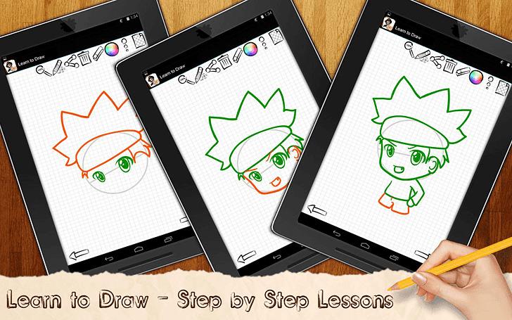 Tekenlessen Chibi Anime App voor Android, iPhone en iPad