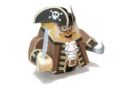 Captain Cutup Pirate Paper Toy