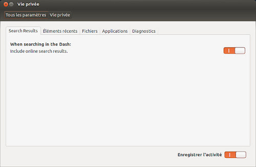Ubuntu 12.10  l'opzione per disattivare le ricerche online dal Dash