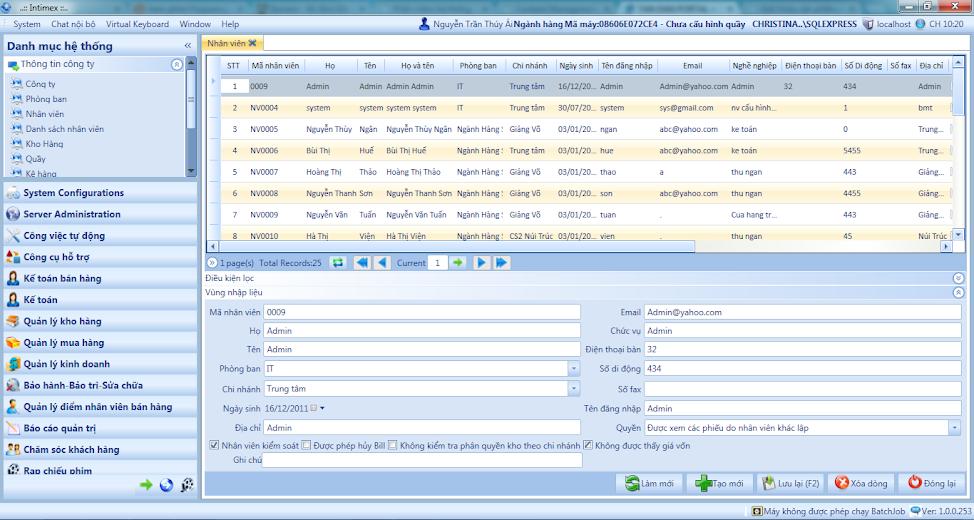 Nhập liệu và quản lý sản phẩm trên hệ thống sau khi phân quyền.