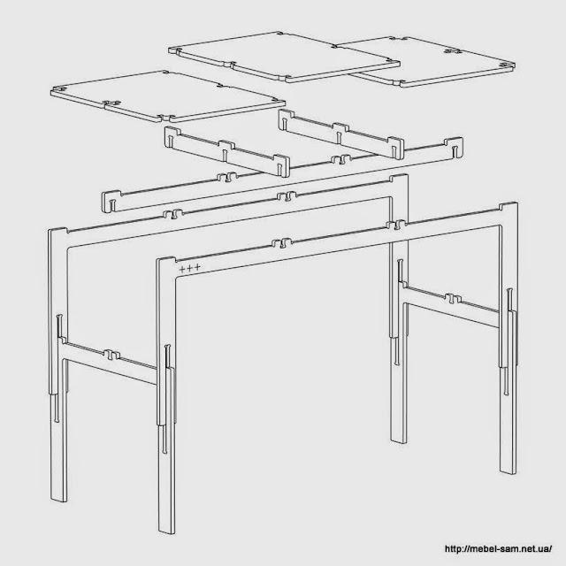 Схема сборки фанерного стола