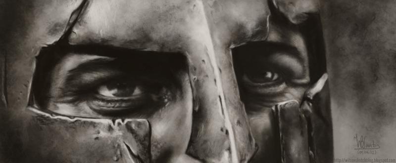 Digital painting of King Leonidas' (from 300) helmet detail, using Krita 2.5 Alpha.