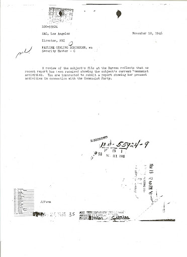 Pauline Schindler-FBI instruction to investigate-November 18, 1946