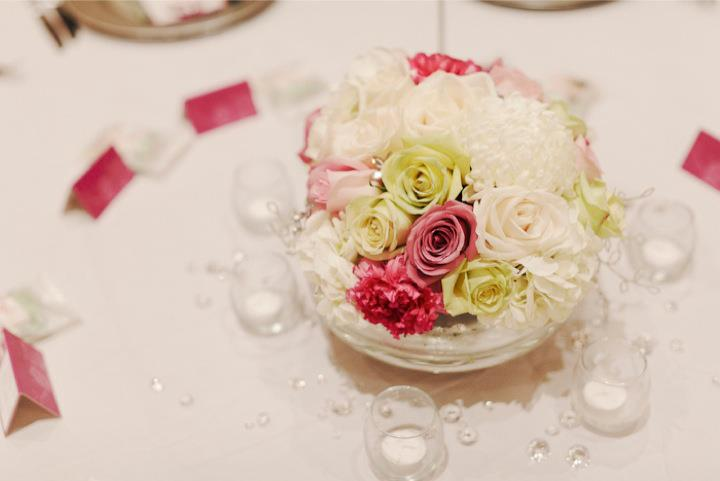 pink and white centerpieces