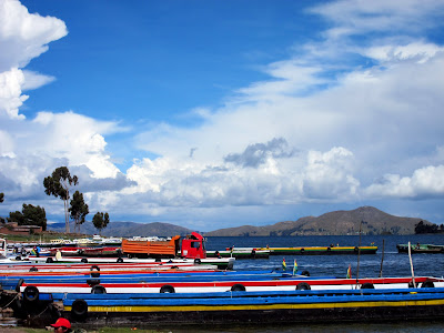 Ferries on the river en route from Copacabana to La Paz in Bolivia