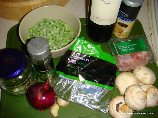ingredients for sauce to accompany venison sausages and mash